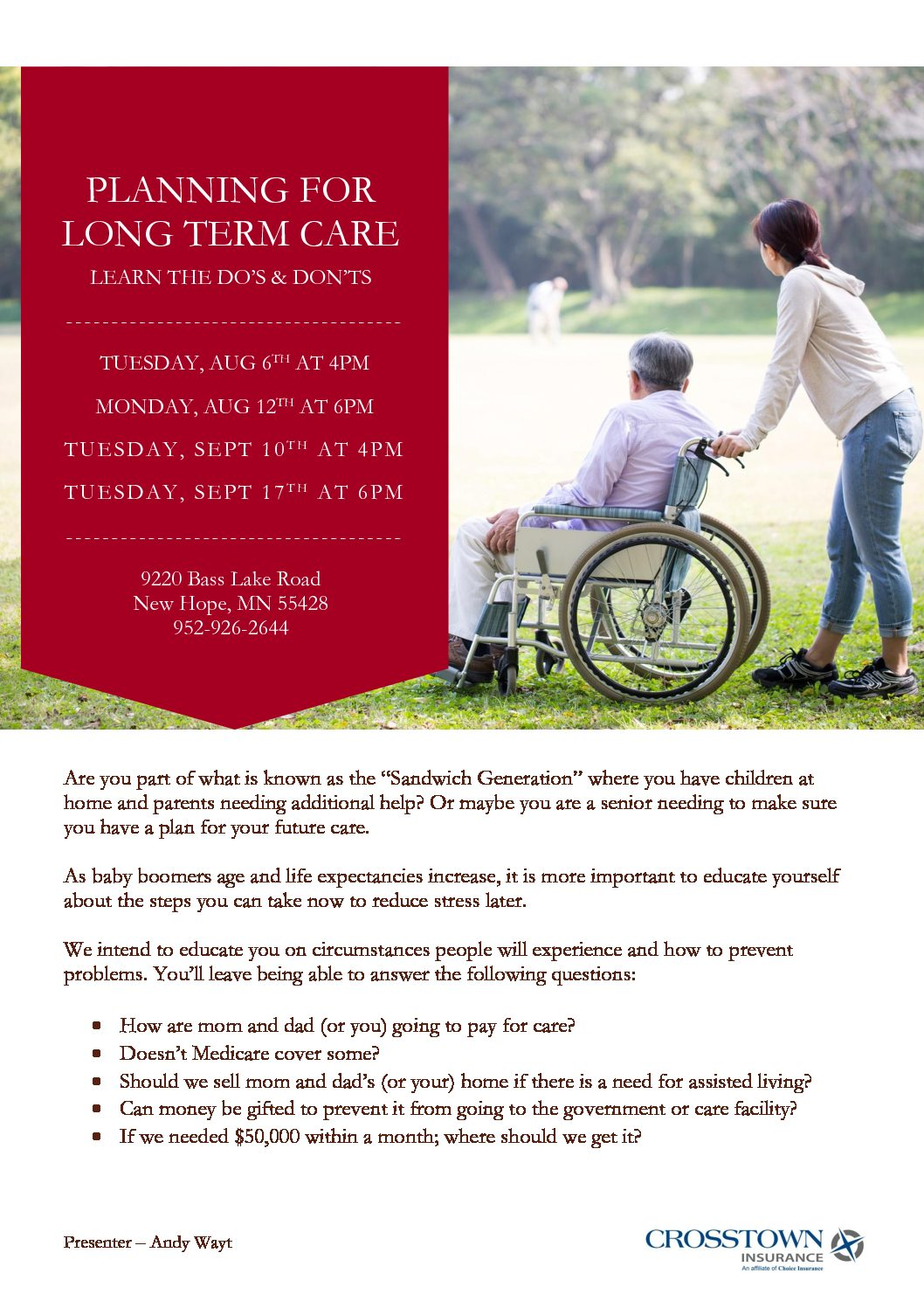 Planning for Long Term Care - Crosstown Insurance